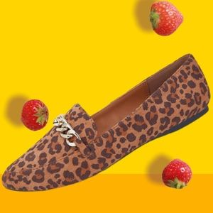 Soda Miles Leopard Gold Chain Comfort Loafer Flat